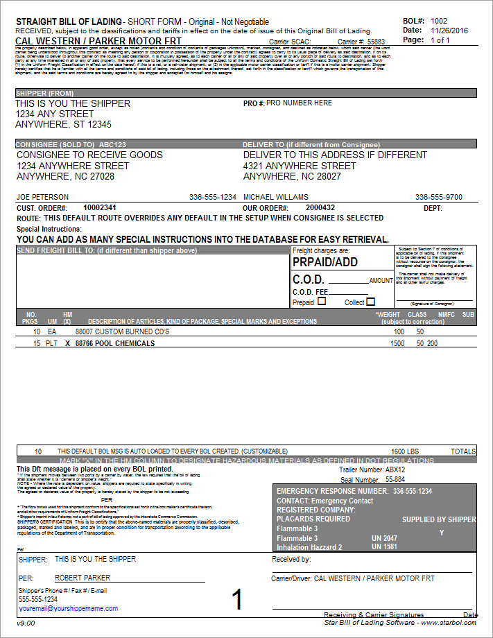 free bill of lading form download - Heart.impulsar.co